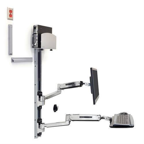 ERGOTRON SIT-STAND LX WALL MNT MED SILVER CPU/H