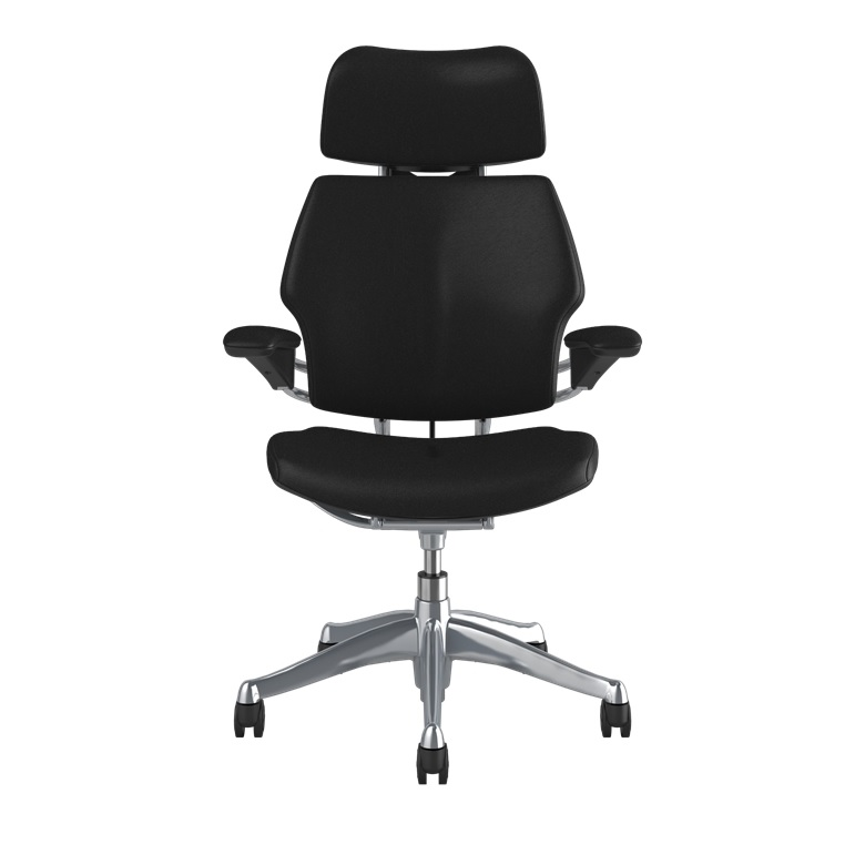Humanscale Freedom Chair with Headrest, Standard Gel Arms with Textile, Ticino Leather in Black, Aluminium Polished Base