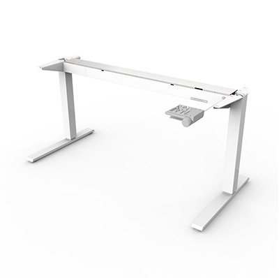Humanscale Float Base Only (No Top) with Mounted Counterbalance Crank in White, suitable for table tops 1200-1400m wide and 600mm deep