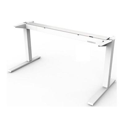 Humanscale Float Base Only (No Top) with Mounted Counterbalance Crank in White, suitable for table tops 1500-1800m wide and 800mm deep