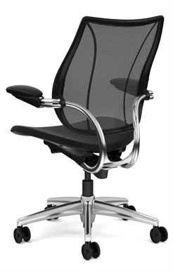 Humanscale Liberty Task Chair, Adjustable Duron Arms, Monofilament Mesh Back in Black, Oxygen Fabric Seat in Inhale (Black), Polished Alu/Black Base