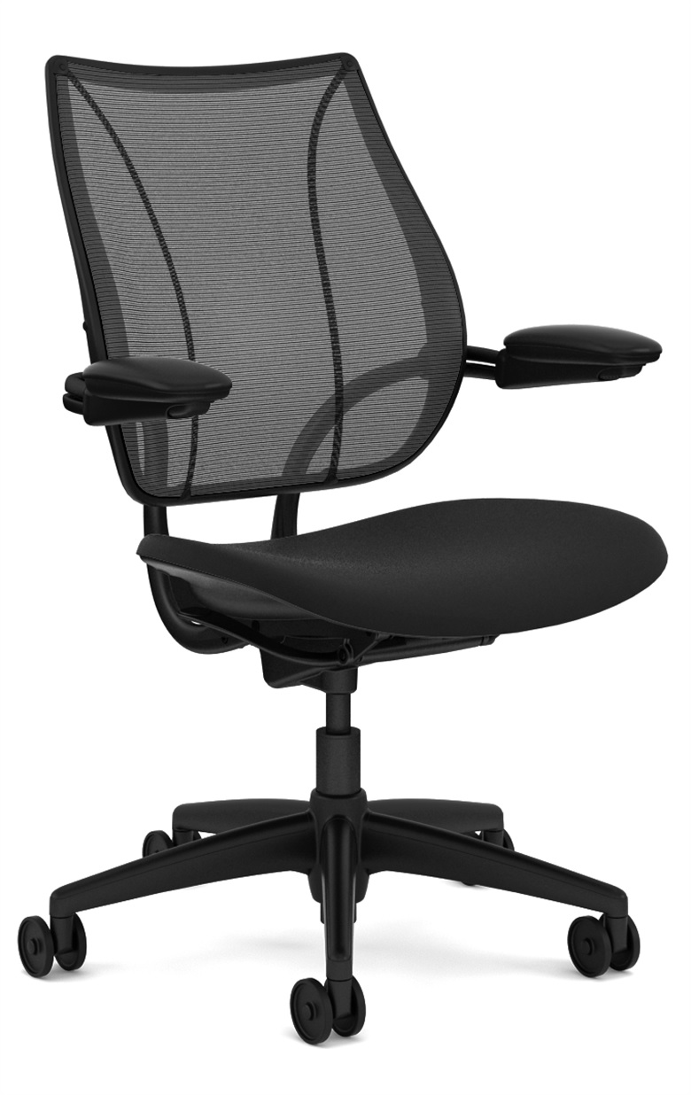 Humanscale Liberty Task Chair, Adjustable Duron Arms, Monofilament Mesh Back Black, Oxygen Fabric Seat Black, Black Base