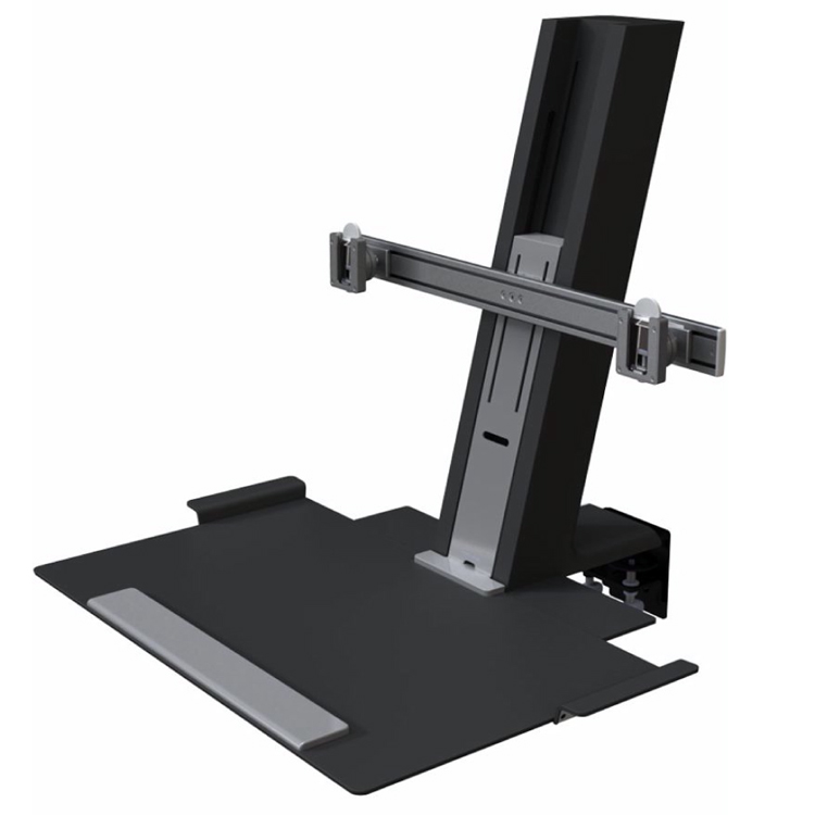 """Humanscale Quickstand Sit/Stand Workstation for Dual Monitors (2 x 24"""" monitors), Large Work Platform, Freestanding, No Pre-Installed Cables, in Black"""