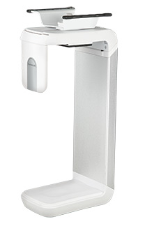 "Humanscale CPU Holder 200 with Sliding Track in White/Brushed Aluminium, to suit CPUs 1""-5"" wide x 6""-12"" tall"