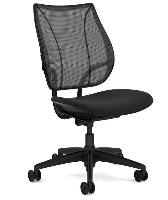 Humanscale Liberty Task Chair, Armless, Monofilament Mesh Back Black, Oxygen Fabric Seat Black, Aluminium Base