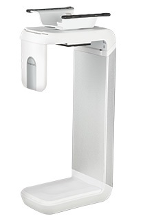 """Humanscale CPU Holder 600 with Sliding Track in White/Brushed Aluminium, to suit CPUs 3.5""""-9"""" wide x 12""""-20"""" tall"""