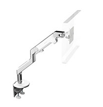 Humanscale M8 Single Monitor Arm, Angled/Dynamic Arm Link, Clamp Mount in Polished Aluminium with White Trim  - 1 pack - (Capacity: up to 18kg total)
