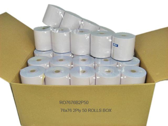 CALIBOR 2 PLY PAPER 76MM X 76MM 50 ROLLS/BOX PLAIN