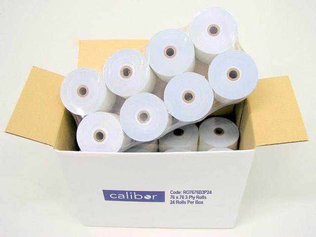 CALIBOR 3 PLY PAPER 76MM X 76MM 24 ROLLS/BOX