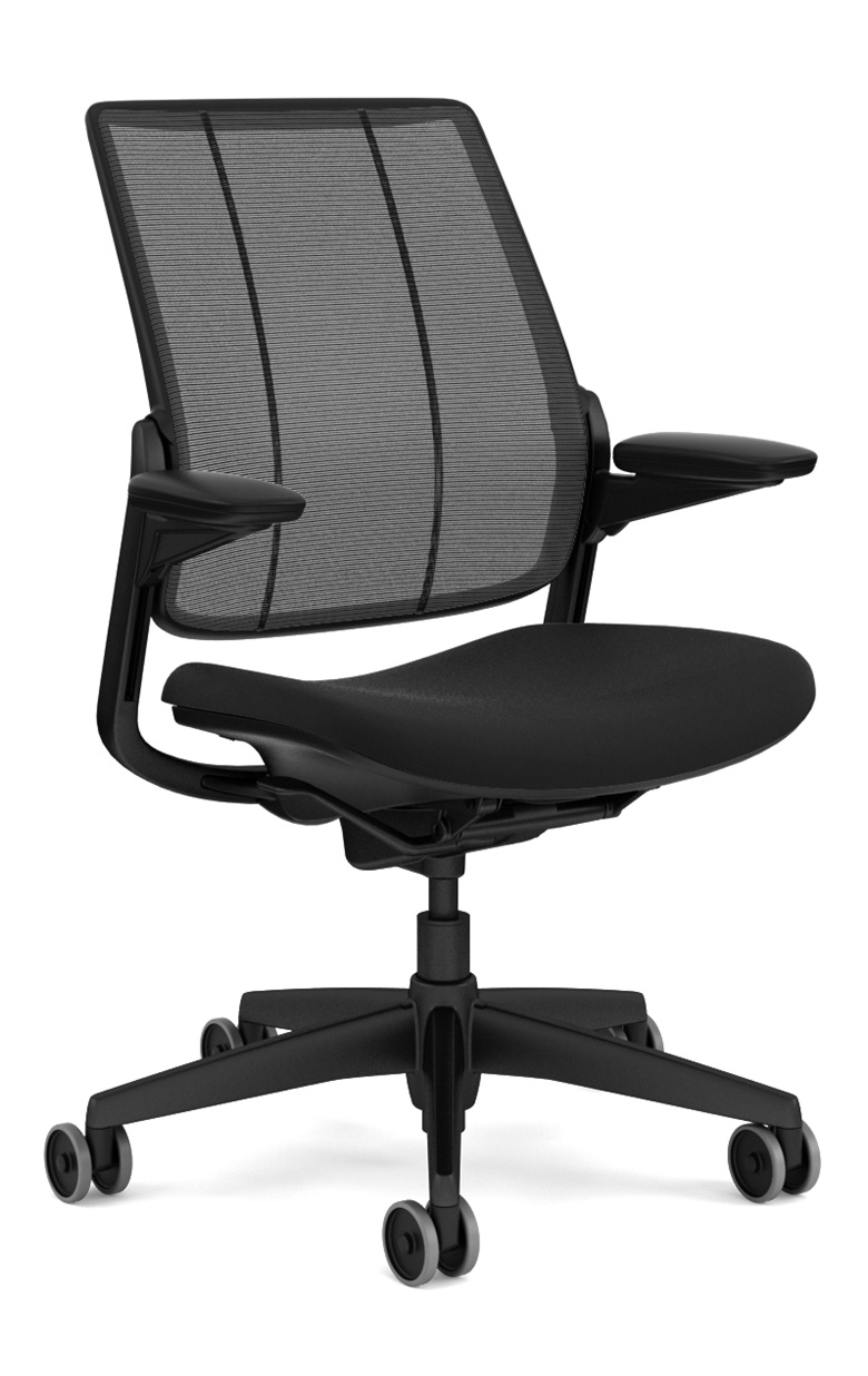 Humanscale Smart Task Chair, Adjustable Duron Arms, Monofilament Mesh Back in Black, Oxygen Fabric Seat in Inhale (Black), Black Base