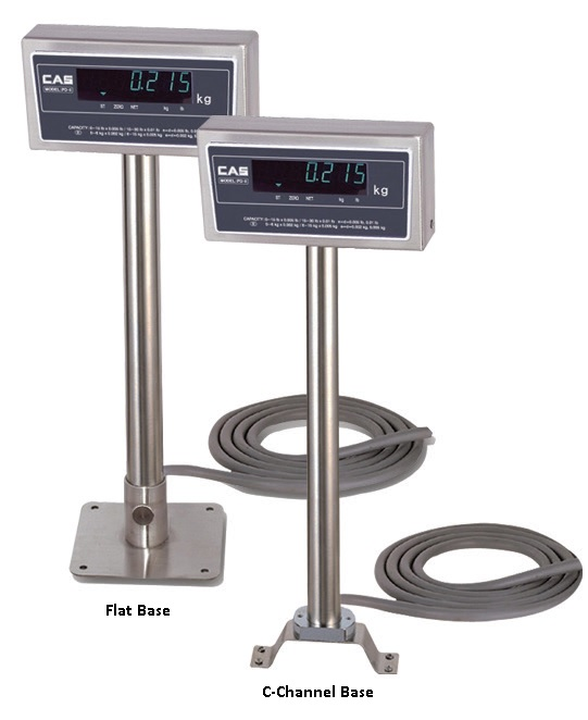 CAS PD-II SCALE POLE DISPLAY S/STEEL W/FLAT BASE