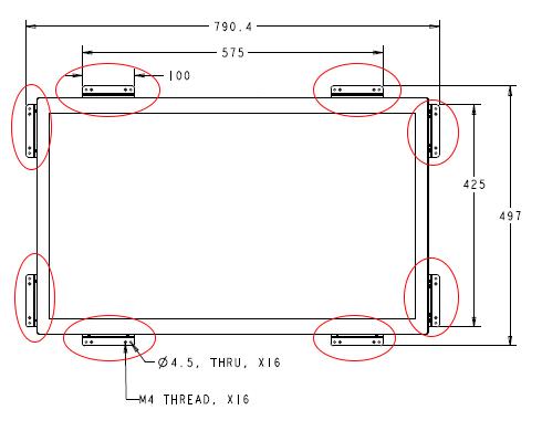 ELO FLUSHMOUNT BRACKET KIT FOR 3243L PCAP MONITOR