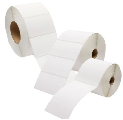 WHITE DIRECT THERMAL PERMANENT ADHESIVE 40MM X 28MM 1 LABEL ACROSS 2000 LABELS PER ROLL 25MM CORE