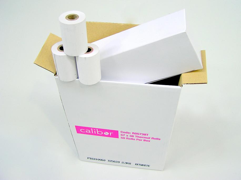 CALIBOR THERMAL PAPER 57MM X 38MM 50 ROLLS/BOX